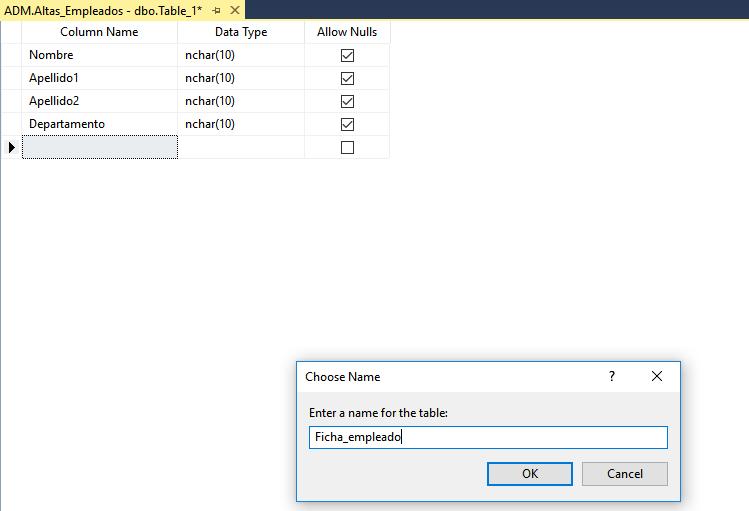 Crear Tabla en SQL Server. Veamos cómo Power Automate introduzca datos de Forms en SQL