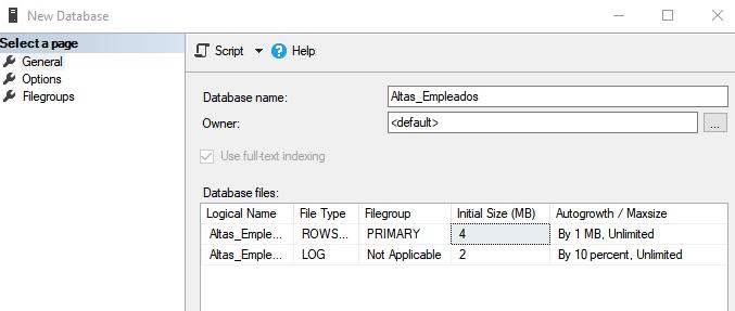 Crear BD en SQL Server