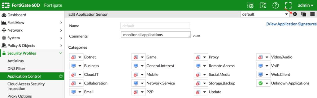 Creando un Application sensor es el primer paso para configurar este módulo de application control.