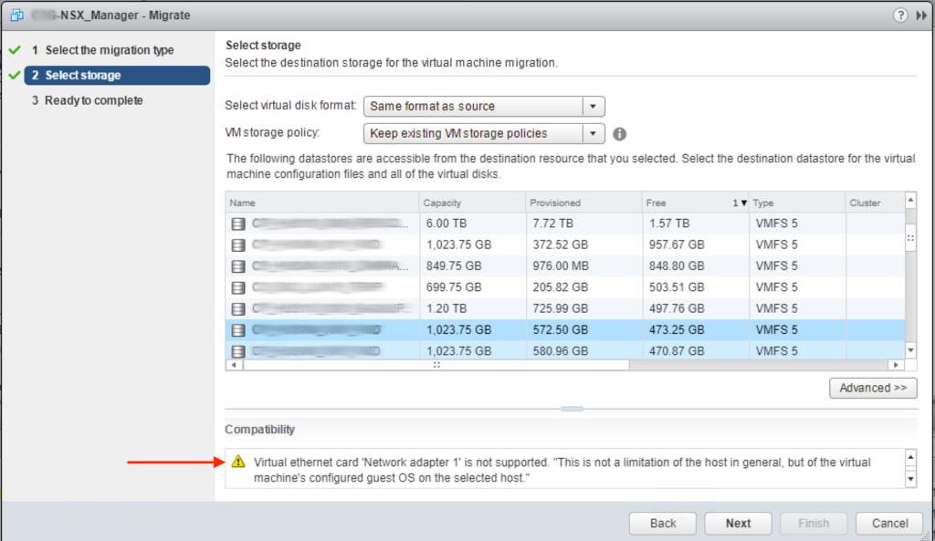 VMware NSX Manager solución al error de vMotion