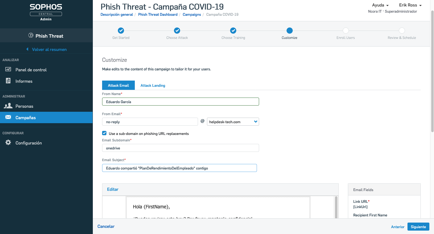 Phish Threat personalizar remitente y asunto