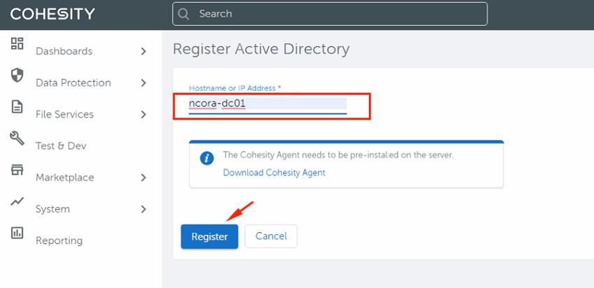 Cohesity Backup Registrar source 2