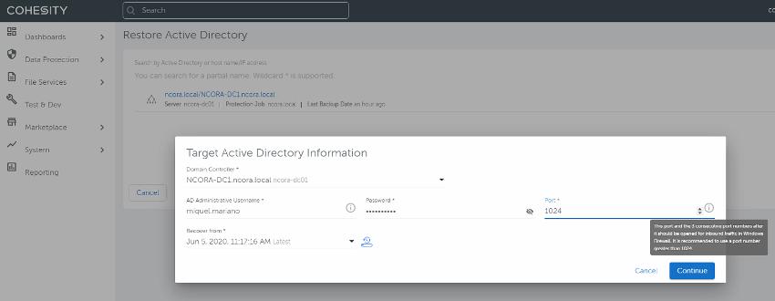 Cohesity backup. Restauración Active Directory