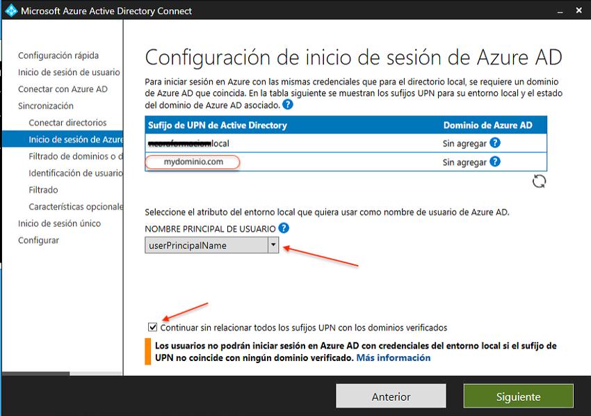Configuración de inicio de sesión en Azure AD