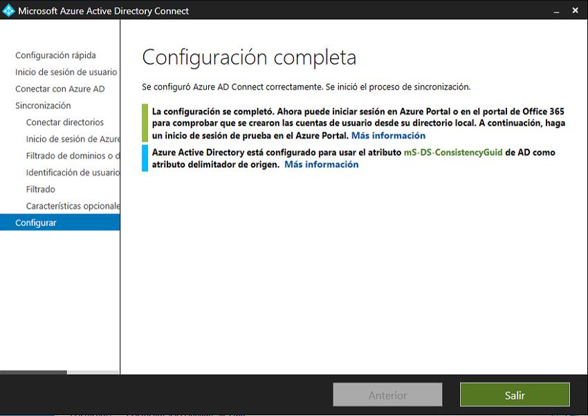 Finalización de la configuración de AD con Microsoft 365 y Azure AD